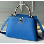 Taurillon & Python Leather Capucines Bb/pm Top Handle Bag N98388 Blue Collection