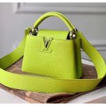 Taurillon Leather Capucines Mini Top Handle Bag M55985 Chartreuse Green Collection