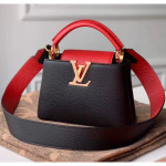 Taurillon Leather Capucines Mini Top Handle Bag M56071 Black/red Collection