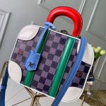 Mini Luggage Top Handle Bag In Damier Azur Canvas Blue 2019 Collection