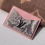 Lockme Grained Leather And Pythonskin Card Holder N97001 Light Pink 2019 Collection