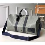 Men's Keepall Bandouliere 50 Travel Bag M53887 Monogram Titanium Canvas 2018