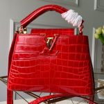 Capucines Mini Crocodile Leather Top Handle Bag N93254 Cerise Red 2019 Collection