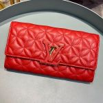 Capucines Bloom Lambskin Long Flap Wallet M68590 Bright Red 2019 Collection