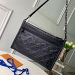 Men's Monogram Embossed Double Flat Messenger Bag M44635 Black 2019 Collection