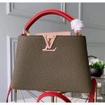 Taurillon Leather Capucines Bb/pm Top Handle Bag M42259 Deep Green/pink 2020 Collection