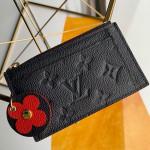 Monogram Empreinte Leather Flower Zipped Card Holder M68338 Dark Blue 2019 Collection