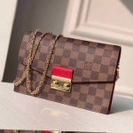 Croisette Damier Ebene Canvas Chain Wallet N60288 Red 2019 Collection
