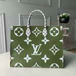 Onthego Shopper Tote Bag M44571 Khaki Green/white 2019 Collection