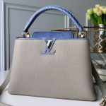 Capucines Mm With Snakeskin Top Handle Bag Light Grey/blue 2019 Collection