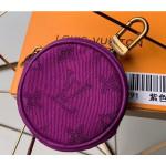 Monogram Denim Bag Charm & Key Holder M68291 Purple 2019