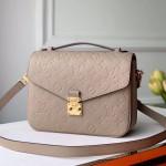 Pochette Métis Monogram Embossed Leather Shoulder Bag Beige Grey 2019 Collection