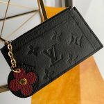 Monogram Empreinte Leather Flower Zipped Card Holder M68338 Black 2019 Collection