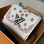 Arabesques Flowers Twist Pm Chain Shoulder Bag In Epi Leather M55234 White 2019 Collection