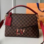 Damier Ebene Canvas Lv Beaubourg Mm Top Handle Bag N40176 Red 2019  Collection