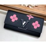 Capucines Wallet With Monogram Flowers M63211 Black/pink