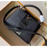 Taurillon & Croco Pattern Leather Capucines Bb/pm Top Handle Bag Black N94220 2020 Collection