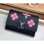 Capucines Compact Wallet With Monogram Flowers M63222 Black