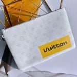 Men's Lv Logos Zipped Pochette Chaine Pouch Gm M68310 White 2019 Collection