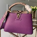 Capucines Mini With Python Skin Top Handle Bag Purple 2019 Collection