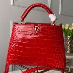Capucines Bb Crocodile Leather Top Handle Bag N92174 Cerise Red 2019 Collection