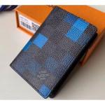 Damier Graphite Pixel Canvas Pocket Organiser Wallet N60158 Blue 2019