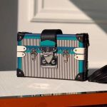 Petite Malle Striped Leather Box Shoulder Bag M53847 Black/blue 2019 Collection