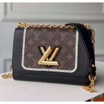 Twist Mm Bag In Calfskin And Monogram Canvas M44837 Brown/black 2020 Collection