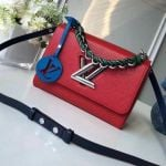 Short Chain Handle Epi Leather Twist Mm Bag Red F/w 2018 Collection