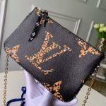 Animal Print Giant Monogram Pochette Double Zip Chain Pouch M67561 Black Collection