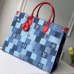Onthego Gm Tote Bag In Damier Monogram Denim Canvas M44992 Blue/red 2020 Collection