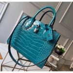City Steamer Pm Top Handle Bag In Glossy Crocodile Leather N92953 Peacock Blue Collection