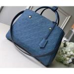 Monogram Empreinte Leather Montaigne Mm Bag Bleu Jean