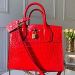 City Steamer Pm Top Handle Bag In Glossy Crocodile Leather N93548 Red 2019 Collection