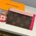 Monogram Canvas Flower Zipped Card Holder M67494 Light Pink 2019 Collection