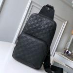 Men's Avenue Damier Leather Sling Shoulder Bag N41720 Black 2019 Collection