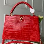Capucines Pm Crocodile Leather Top Handle Bag N92965 Cerise Red 2019 Collection