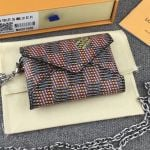 Damier Lv Pop Kirigami Necklace Envelope Chain Pouch N60278 Red 2019 Collection