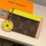 Monogram Canvas Flower Zipped Card Holder M67494 Yellow 2019 Collection