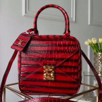 Cube Néo Square Crocodile Embossed Striped Top Handle Bag M55334 Red 2019 Collection