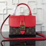 Monogram Canvas & Leather One Handle Bag Red 2018 Collection