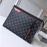 Men's Pochette Voyage Mm N41696 Damier Graphite Canvas/orange 2018