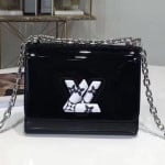 Twist Pm Shoulder Bag In Patent Leather And Monogram Print Black 2019 Collection