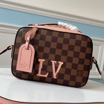 Damier Azur Canvas Saintonge Top Handle Bag N40155 Pink 2019 Collection
