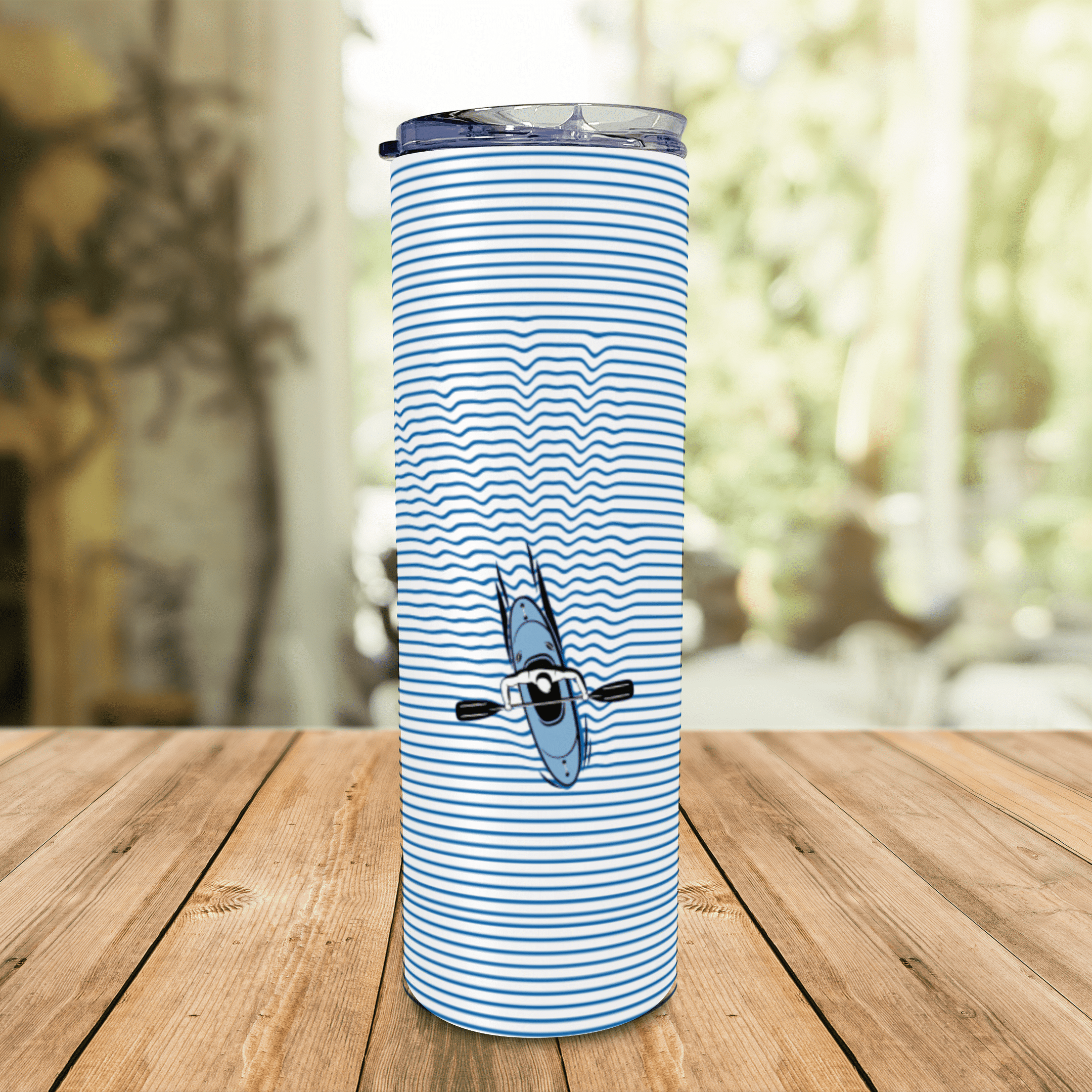 Rowing Paddle A Kayak Lover - Eco Stainless Steel Skinny Tumbler Coffee Cup