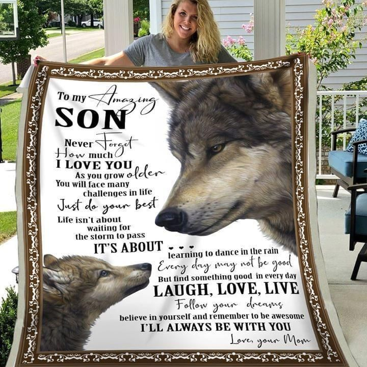Wolf Mom To Son Never Forget How Much I Love You I'Ll Always Be With You Quilt Blanket Quilt Blanket