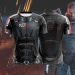 N7 Men Suit Mass Effect 3 Unisex 3D T-shirt