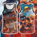 One Piece Luffy Ace Sabo Unisex 3D Tank Top