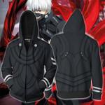Tokyo Ghoul Kaneki Ken Cosplay Zip Up Hoodie Jacket