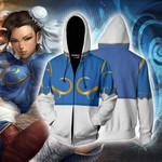 Street Fighter Chun-Li Cosplay Zip Up Hoodie Jacket